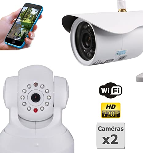 Pack de 2 Cámaras de vigilancia HD IP WiFi interior y exterior: Amazon.es: Electrónica