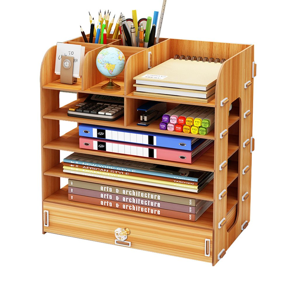 Qi Peng Bookshelf - Desktop Storage Box Multi-Layer Drawer Folder Wooden Storage Desk Shelf (Color : A)