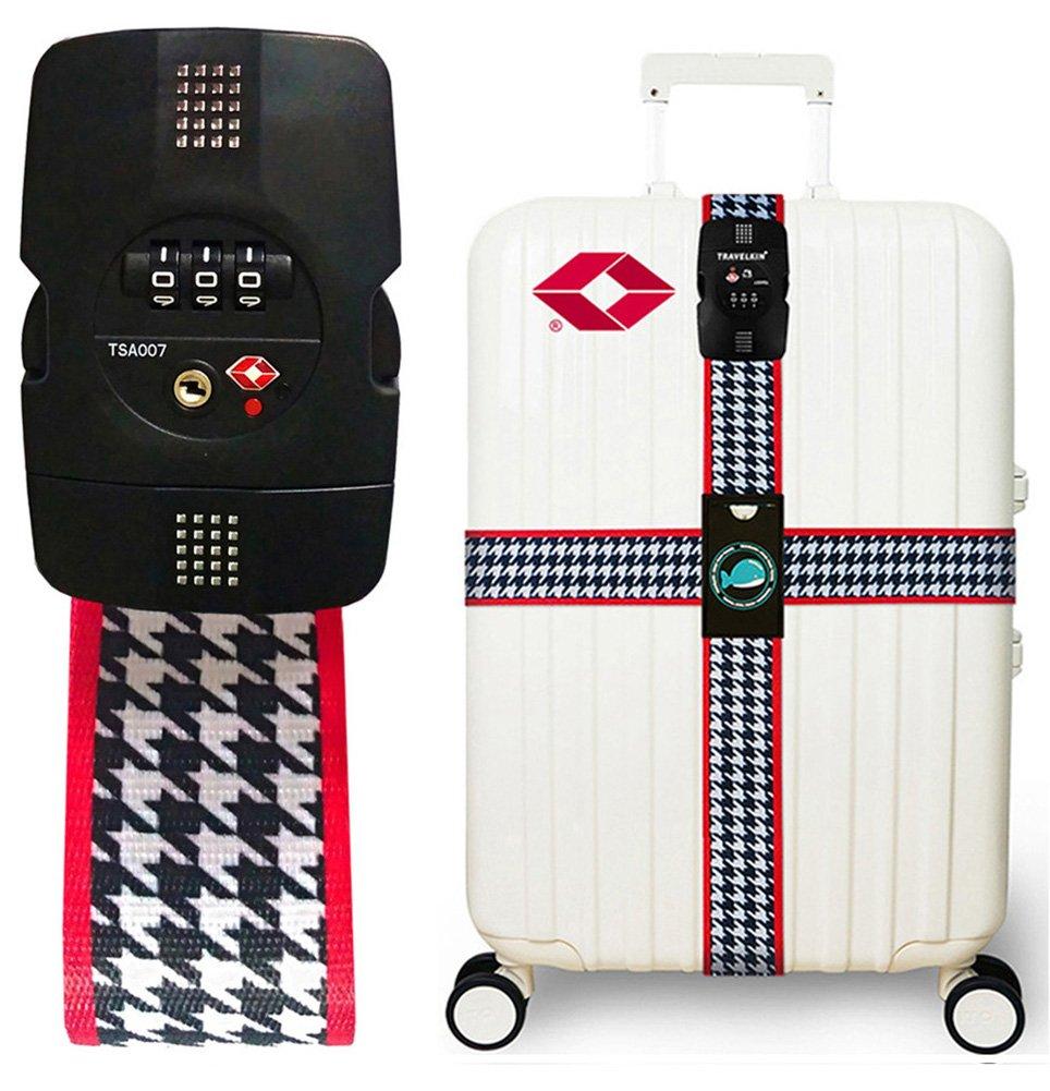 Luggage Strap TSA Lock Cross Strap Combination Lock Adjustable Travel Suitcase Belt DB-0002-YELS