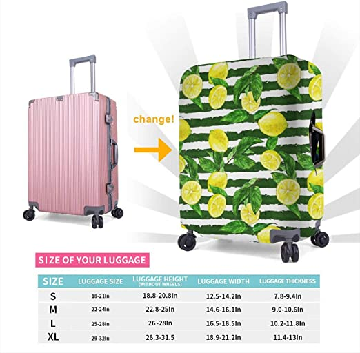 Suitcase Cover Protective Customized Luggage Cover Fits 18-32 Inch Horizontal Stripes Background XL