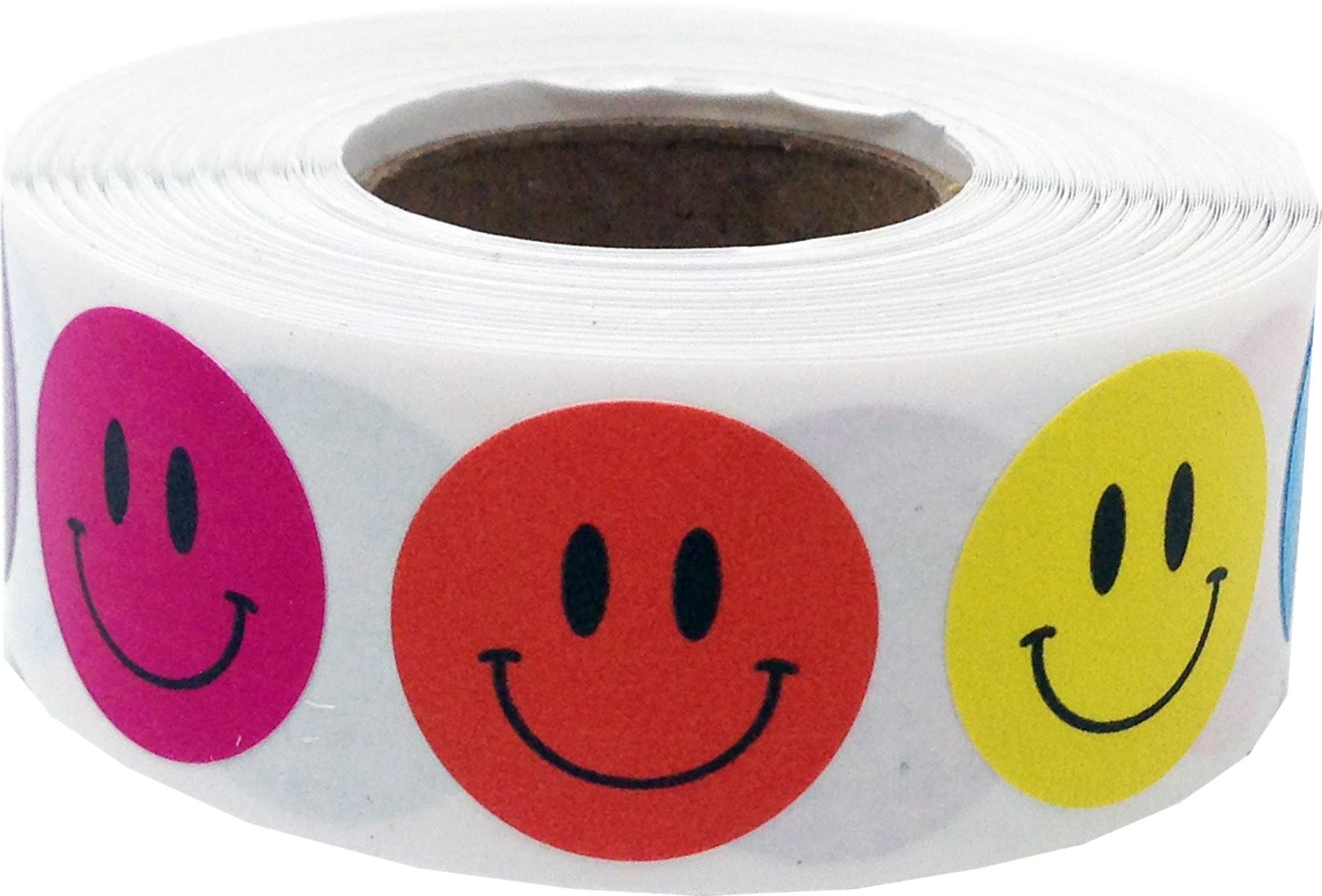 Multi Color Smiley Face Circle Dot Stickers, 3/4 Inch Round, 500 Labels on a Roll