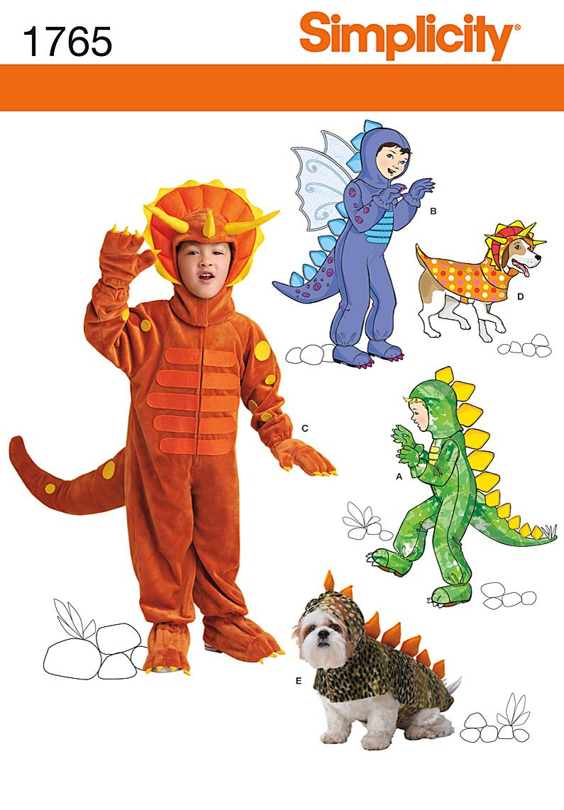Simplicity Pattern 1765 Child's and Matching Dog Dinosaur Costumes Sizes 3-4-5-6-7-8 Simplicity Creative Patterns US1765A