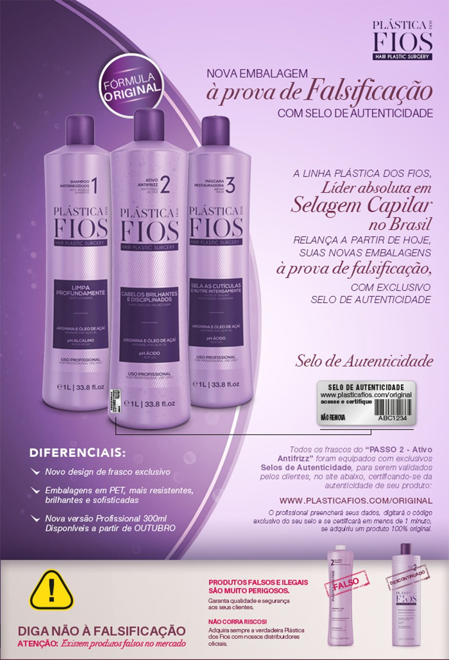 Cadiveu Plastica Dos Fios Kit 33.8oz/liter New Packaging Same Formula with Seal of Authenticity