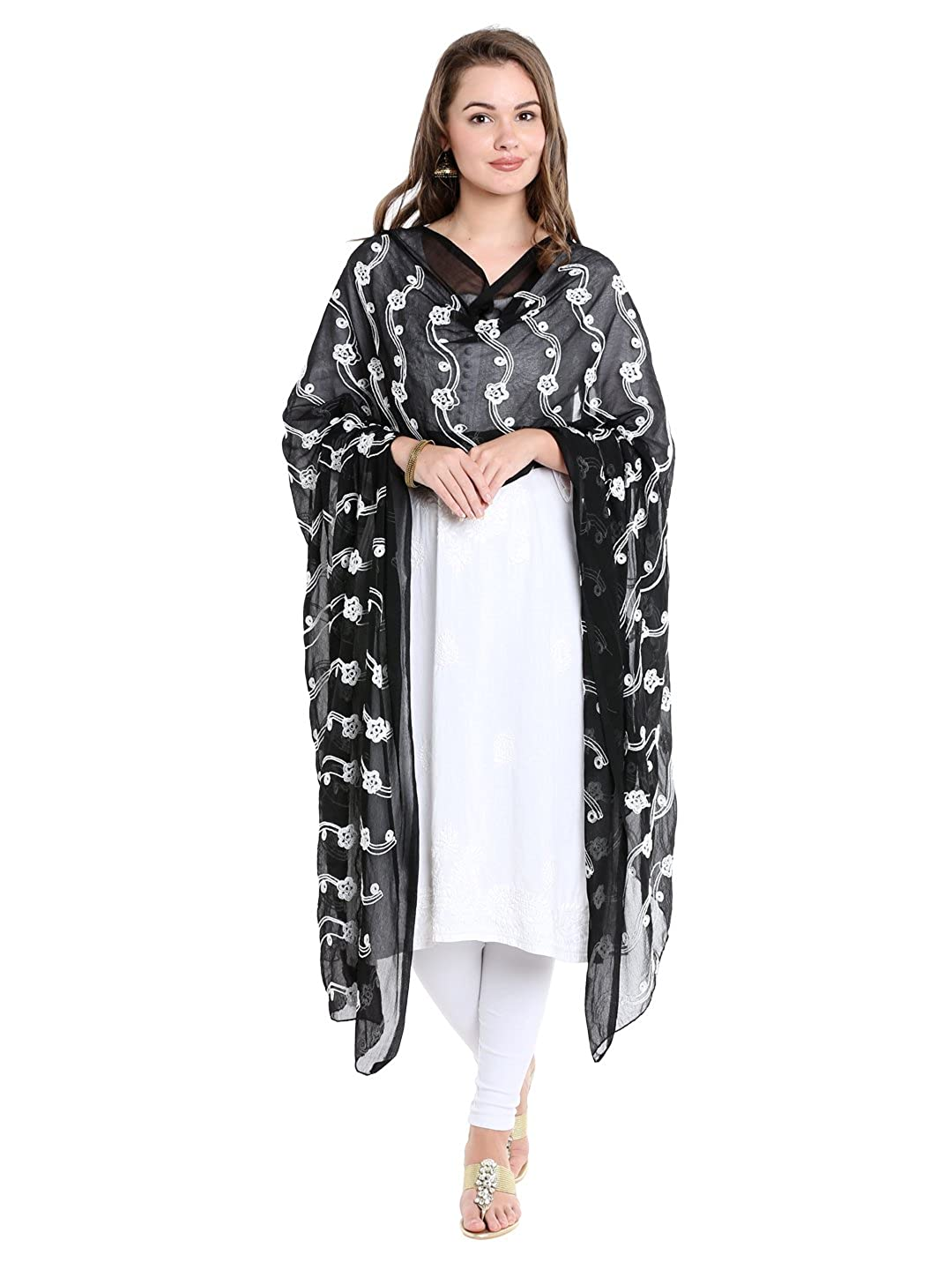 Dupatta Bazaar Woman's Black and White Embrodiered Chiffon dupatta DB1491