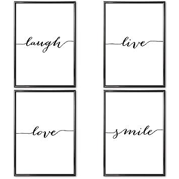 Verschiedene Poster Set S Live Love Laugh 4 X Din A4 Auch Mit Bilderrahmen Bilder Schwarz Weiß Mit Sprüchen Für Wohnzimmer Kunstdruck