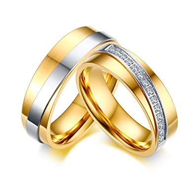 Amazon Com Slyq Jewelry Elegant Wedding Ring Men Gold Color Cz