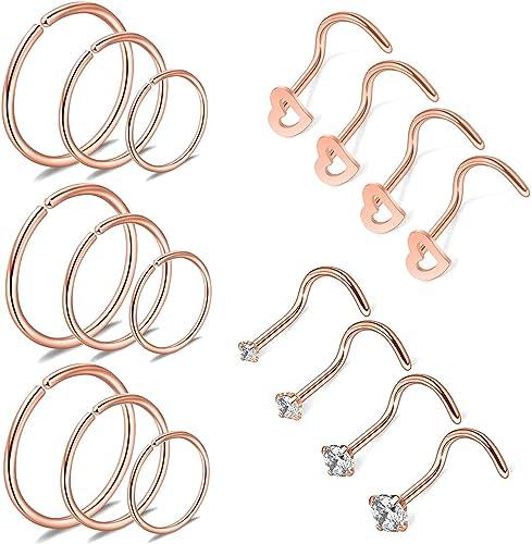 Amazon Com Jninia Rose Gold Nose Rings 17pcs 20g Nose Rings