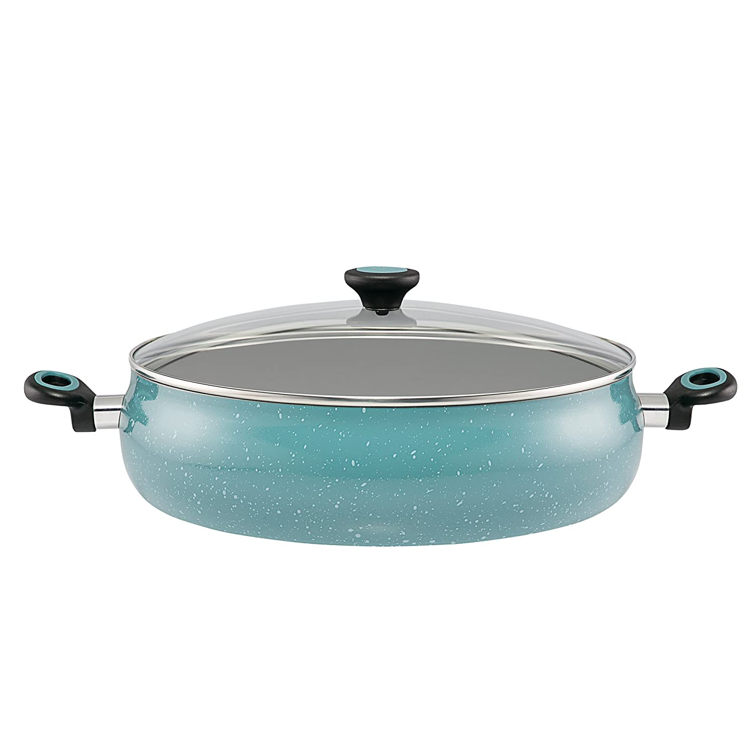 Gulf Blue Speckle Paula Deen 13268 Casserole Riverbend Aluminum Nonstick Covered Family Gathering Pan//Large Jumbo Cooker,13.75-Inch