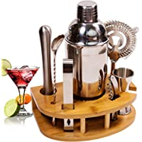 BRITOR Cocktail Shaker Set Cocktail Kit,8 Piece Stainless Steel Bartender Kit with Curved Bamboo Base Kitchen…