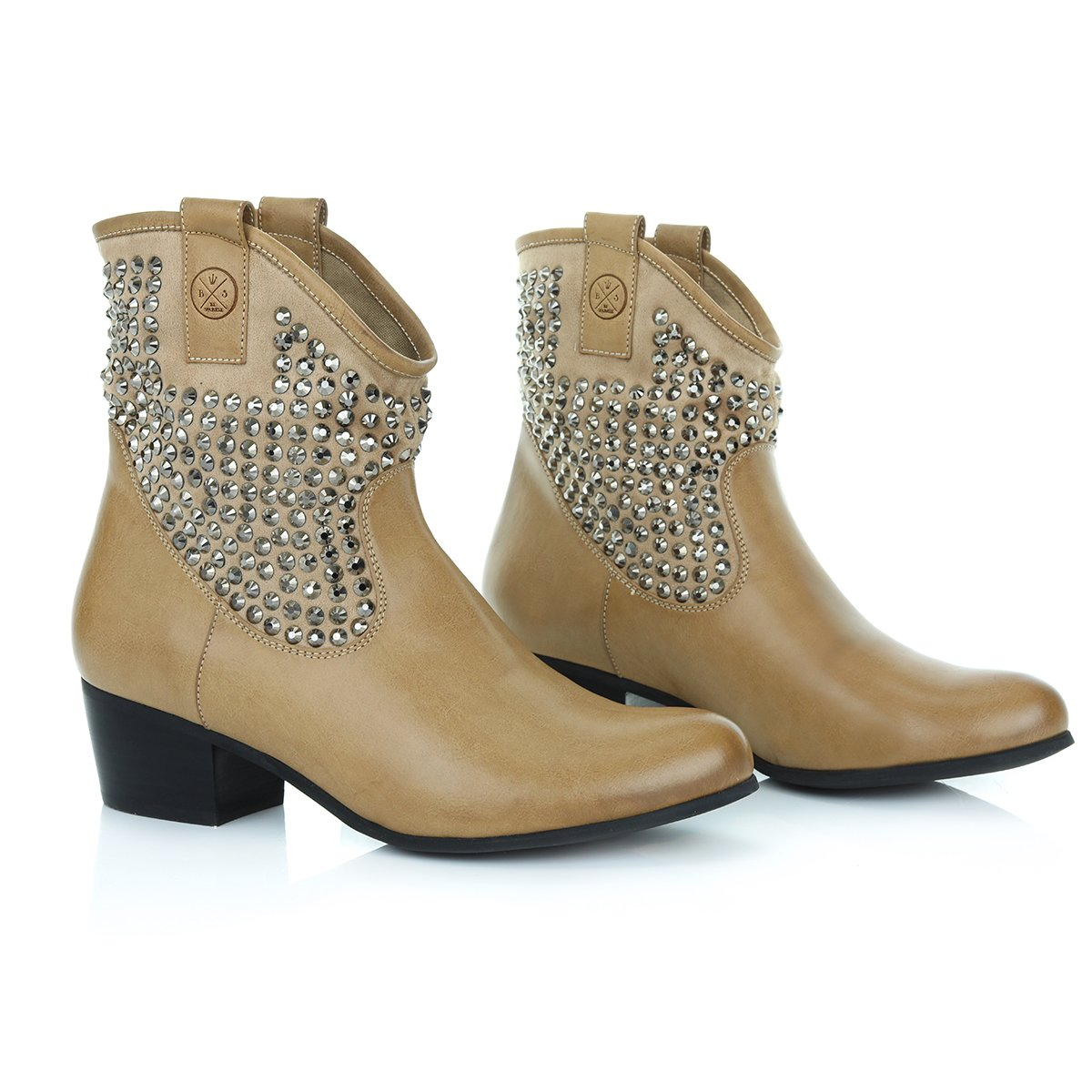 Bsparkle Ankle Boots Low Heel Suede for Girls and Women-Cowboy Style-Comfortable All Day Walking Booties by 6 B(M) US