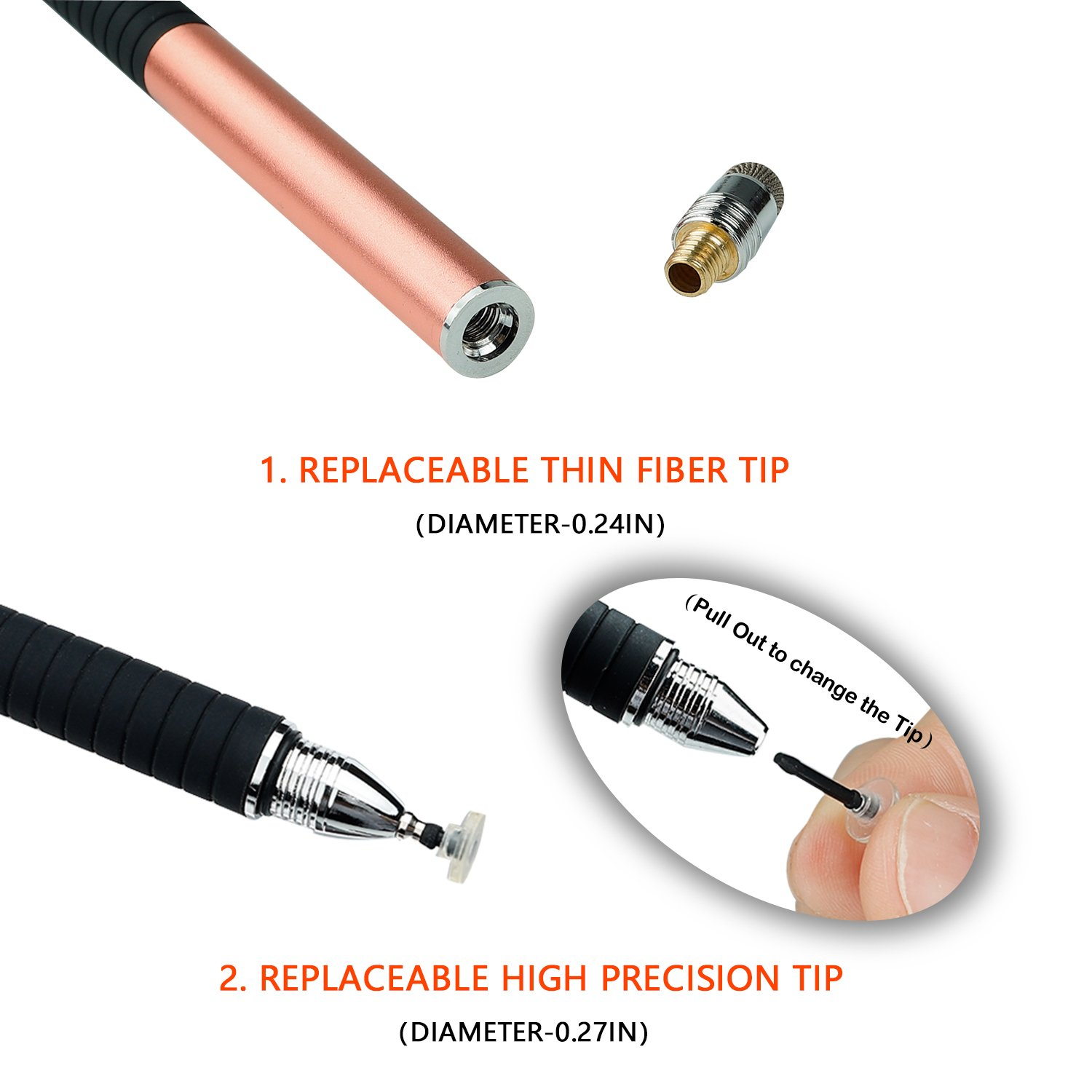 ELYAN Capacitive Stylus Pen,Disc Tip & Fiber Tip 2in1 Series, High Sensitivity & Precision styli Pens, Universal for Tablet and Touch Screens Devices by ELYAN (Image #4)