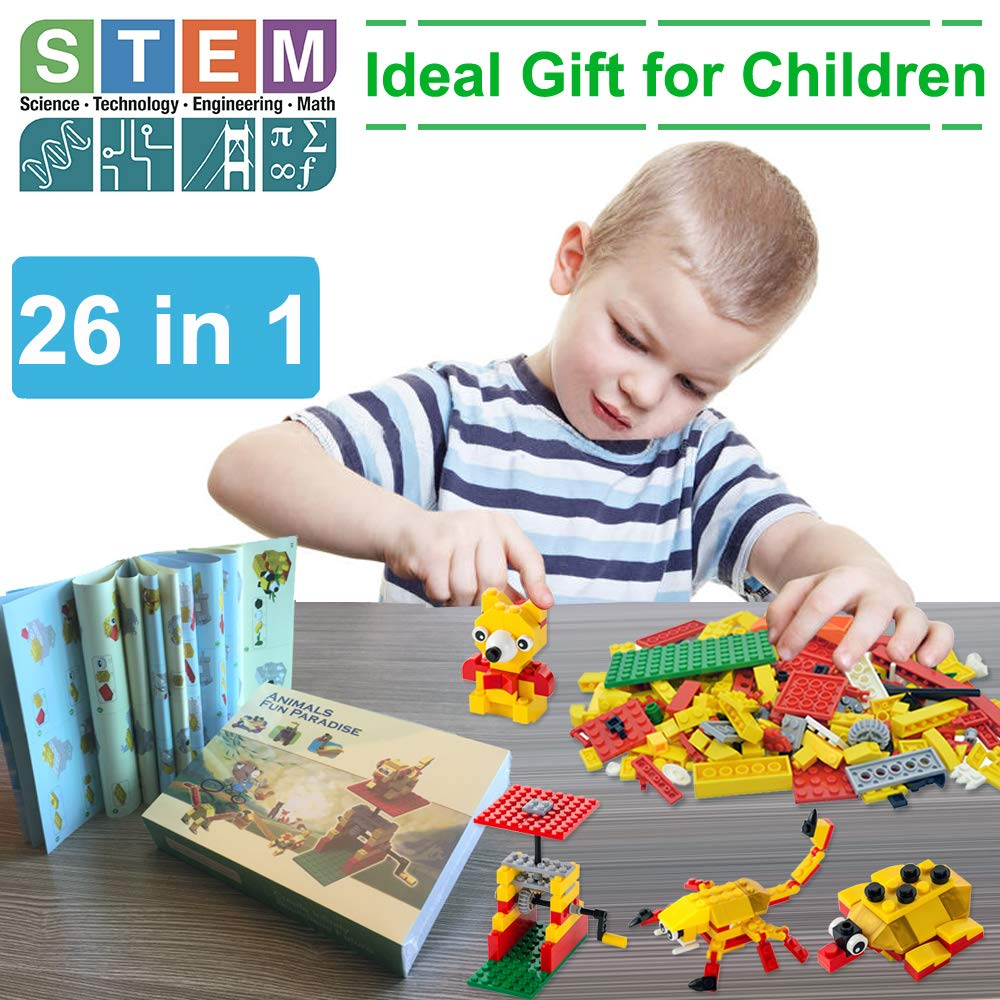 7df8ffaa748f Amazon.com  Building Blocks 244pcs Set to Create Funny Turntable   26  Different Animals - Building Toys Gift for Boys   Girls