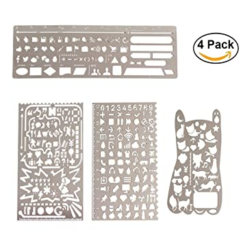 FUKCUP Bullet Journal Stencil Set Stainless Steel Drawing Templates Scale Ruler Planner