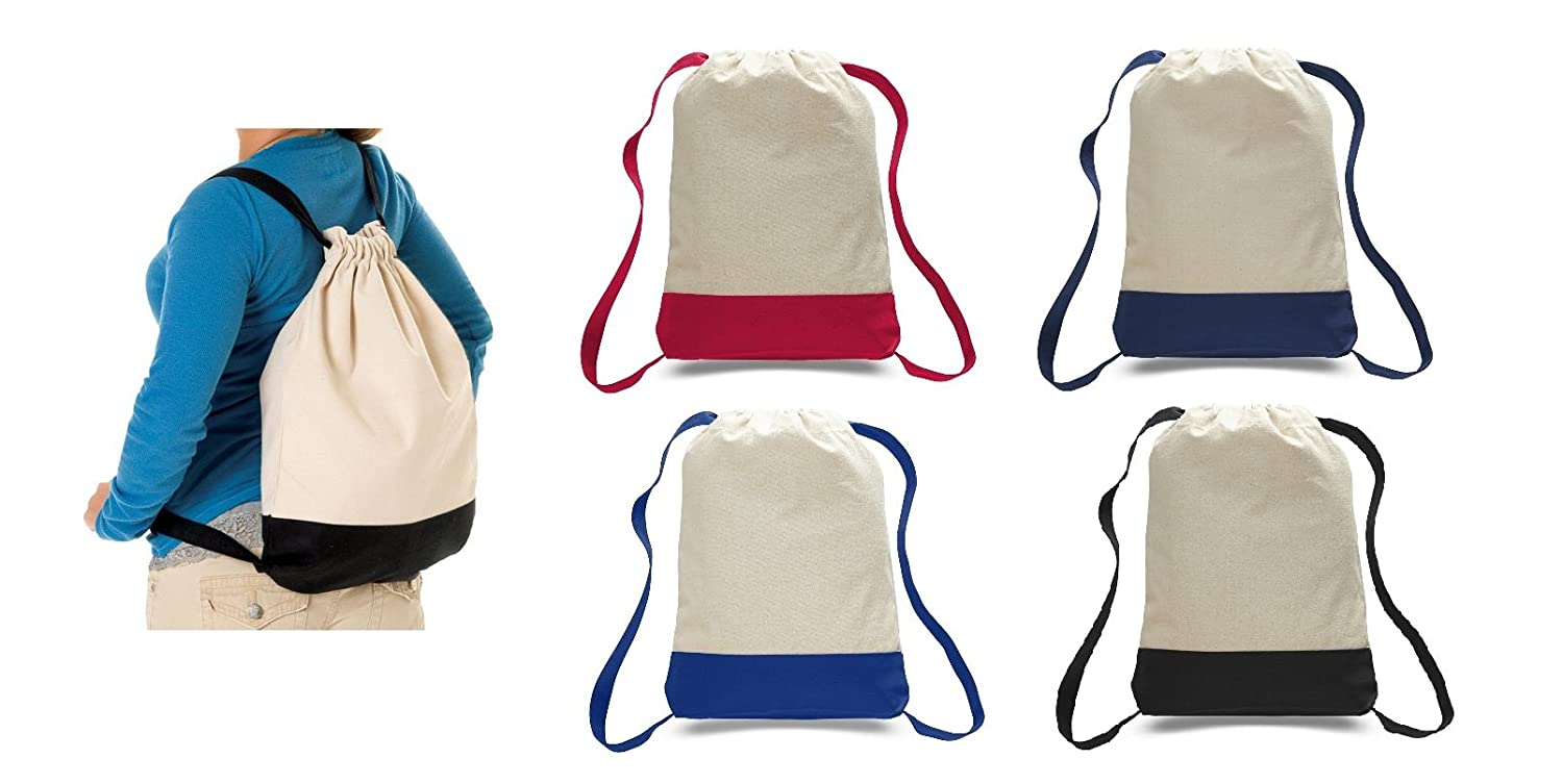Heavy Canvas Sport Drawstring Bags, Self fabric adjustable straps backpack,Two Tone, cheap
