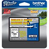 Brother Non-Laminated 9/64 Inch Tape in Retail Packaging, Black on White (TZeN201)