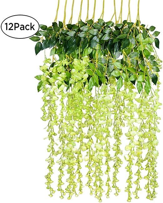 Rose BulzEU Lot DE 12 Guirlandes de Fleurs de glycine Artificielle Fleurs suspensions D/écoration F/ête Maison Mariage 110cm