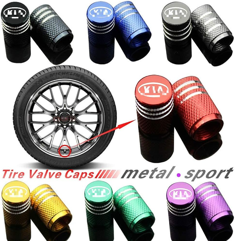 EVPRO Valve Stem Caps for Car Tire Decorative 4 Pack Gray Fit KIA Accessories