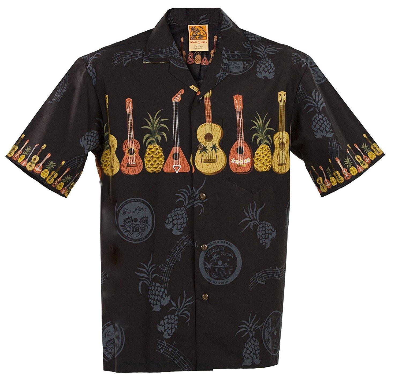 A WinnieFashion ハワイアン(コットン100%)エレガントなウクレレプリントアロハシャツ(USA) B0002PZVSY XL|ブラック ブラック XL
