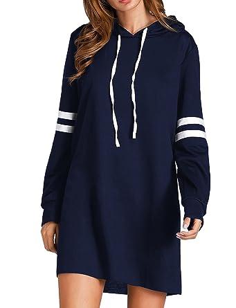 Cindeyar Sweat-Shirt à Capuche Femme Automne Hiver Manche Longue Classique  Rayures Coton Hoodie Pull e0d1200f6ffc
