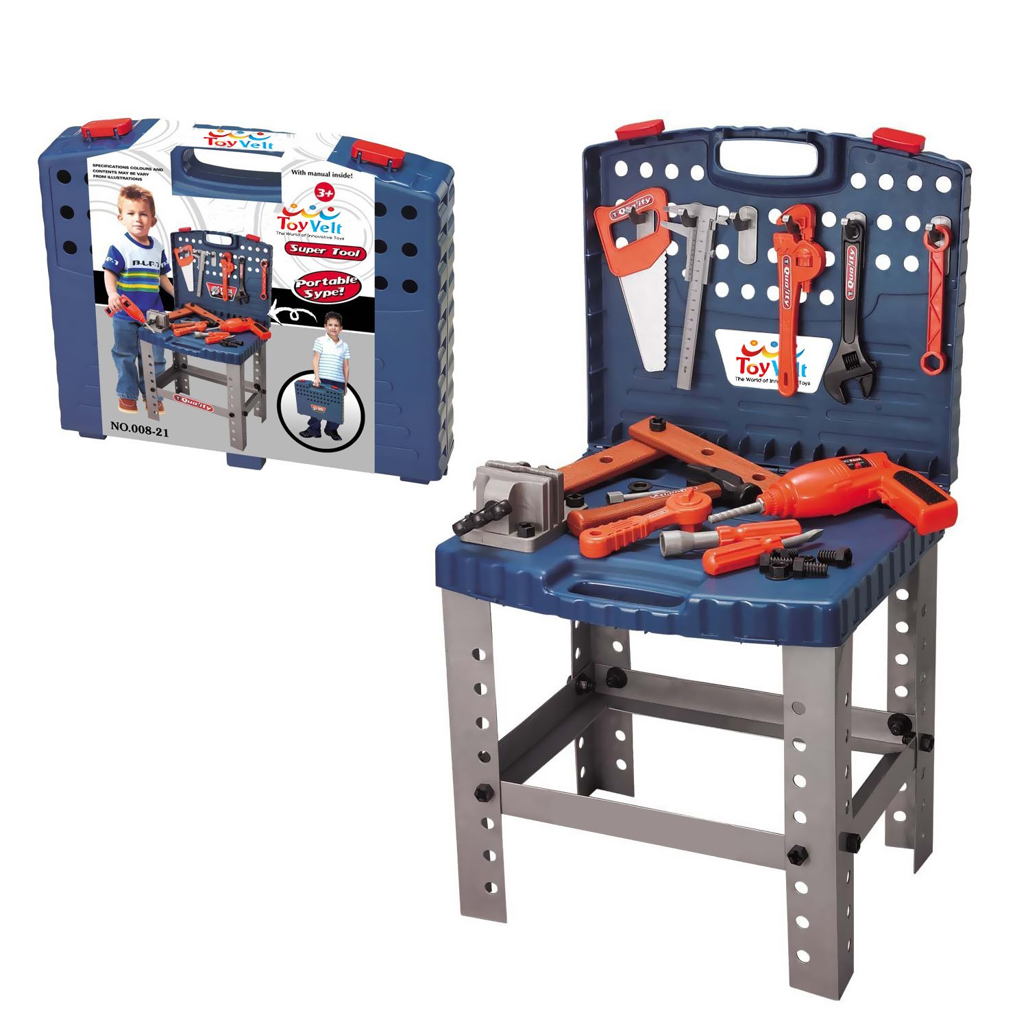 68 Piece Kids Toy Workbench W Realistic Tools and Electric Drill for Construction Workshop Tool Bench, STEM Educational Play, Pretend Play, Birthday Gifts and Toolbox for age 3 - 10 yrs old by toyvelt