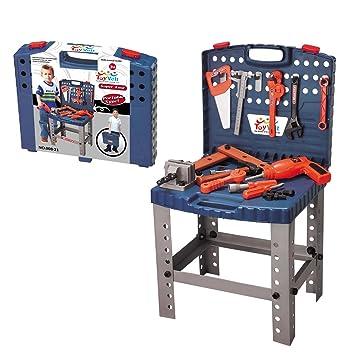 MegaToyBrand Bancada de herramientas de juguete Taller de calidad superior c/ 12 Herramientas realistas y taladro para juegos educativos - Mejor Kit ...