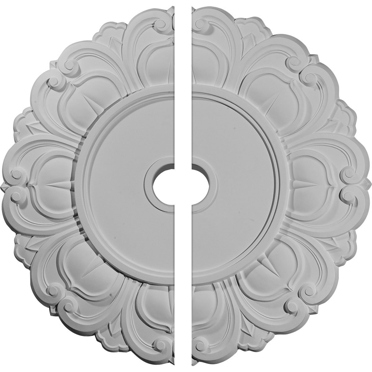 Ekena Millwork CM32AN2 32 1/4''OD x 3 5/8''ID x 1 1/8''P Angel Ceiling Medallion, Two Piece (Fits Canopies up to 15 3/4''), Factory Primed White