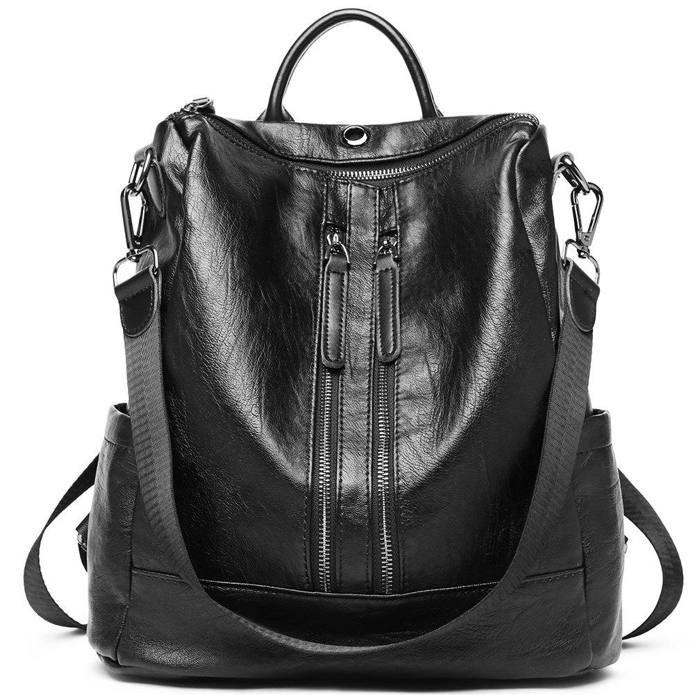 Women Backpack Purse PU Leather Fashion Travel Casual Detachable Covertible Ladies Shoulder Bag black