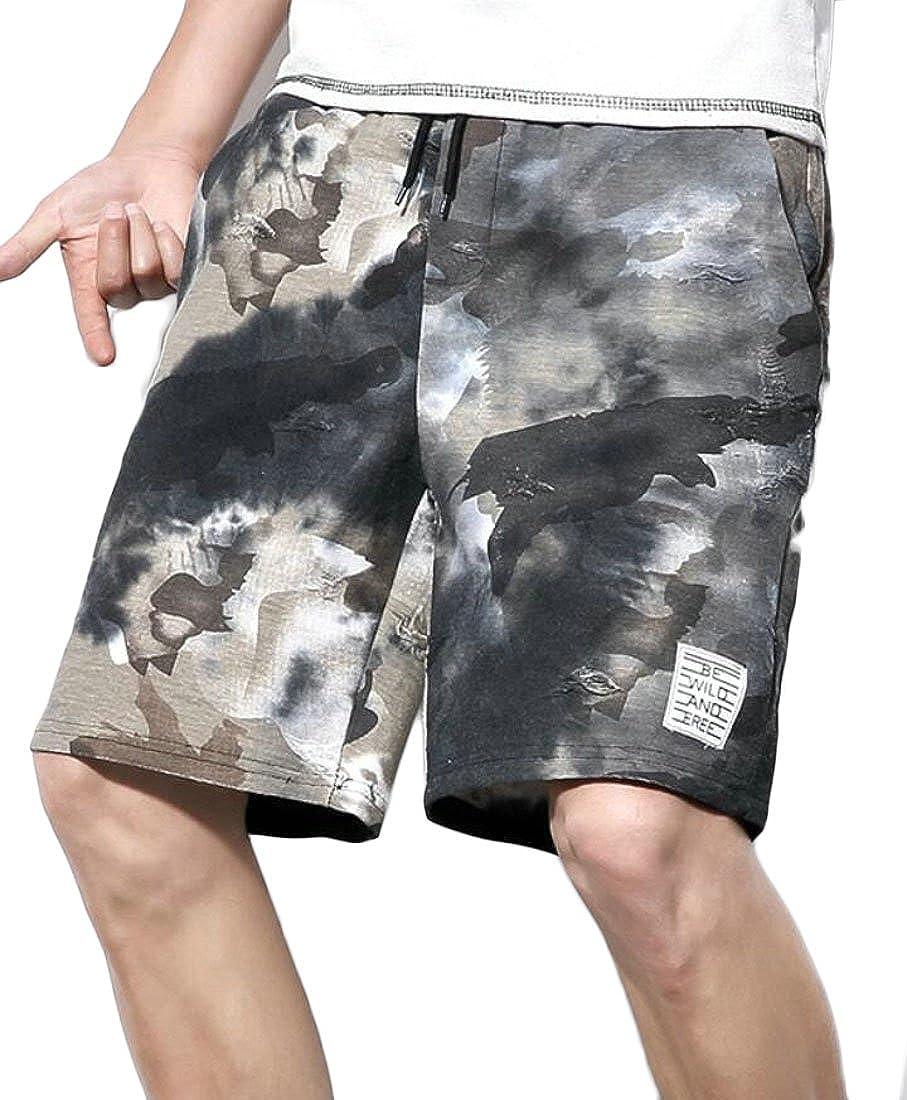 Spirio Mens Drawstring Fashion Swimming Trunks Board Print Ripped Beach Shorts