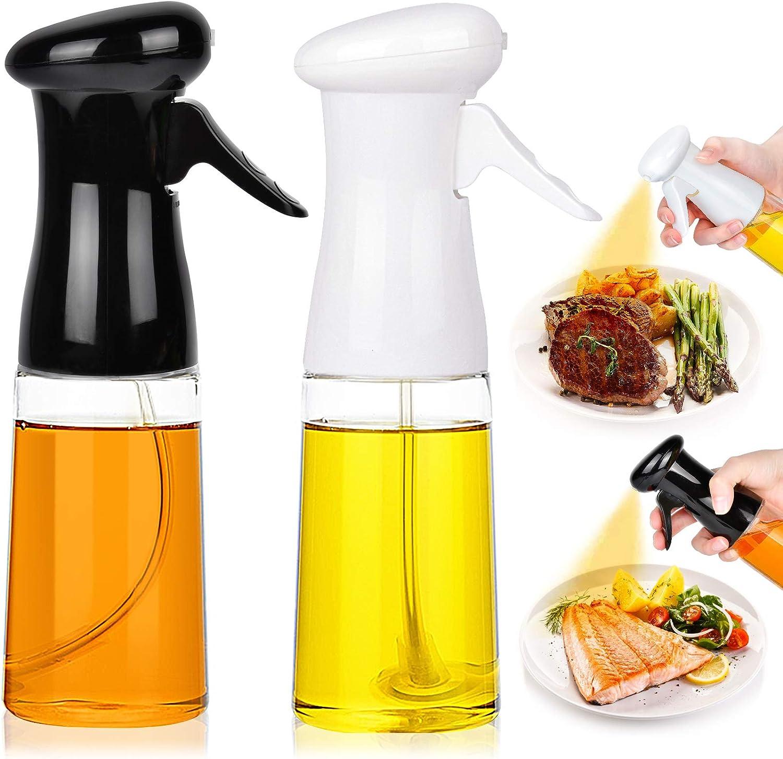 Oil Sprayer for Cooking 2PACK Set Refillable Olive Oils Dispenser Spray Versatile Vinegar Spritzer Bottle PET Food Grade Oil Spray Bottle Plastic for Air Fryer Kitchen BBQ Salad Baking 7Oz Black+White