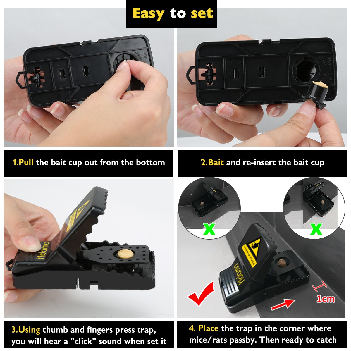 Mouse Traps That Work Rat Trap Outdoor Indoor Best Snap Traps for Mouse//Mice Safe and Reusable 6 Pack Humane Mouse and Rat Traps Mouse trap