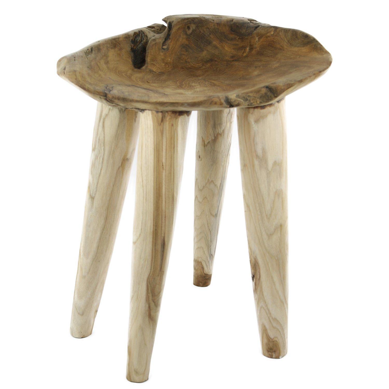 Teakholz beistelltisch  Teakholz Beistelltisch Massiv Sitzhocker Stool Metall Teak Tisch ...