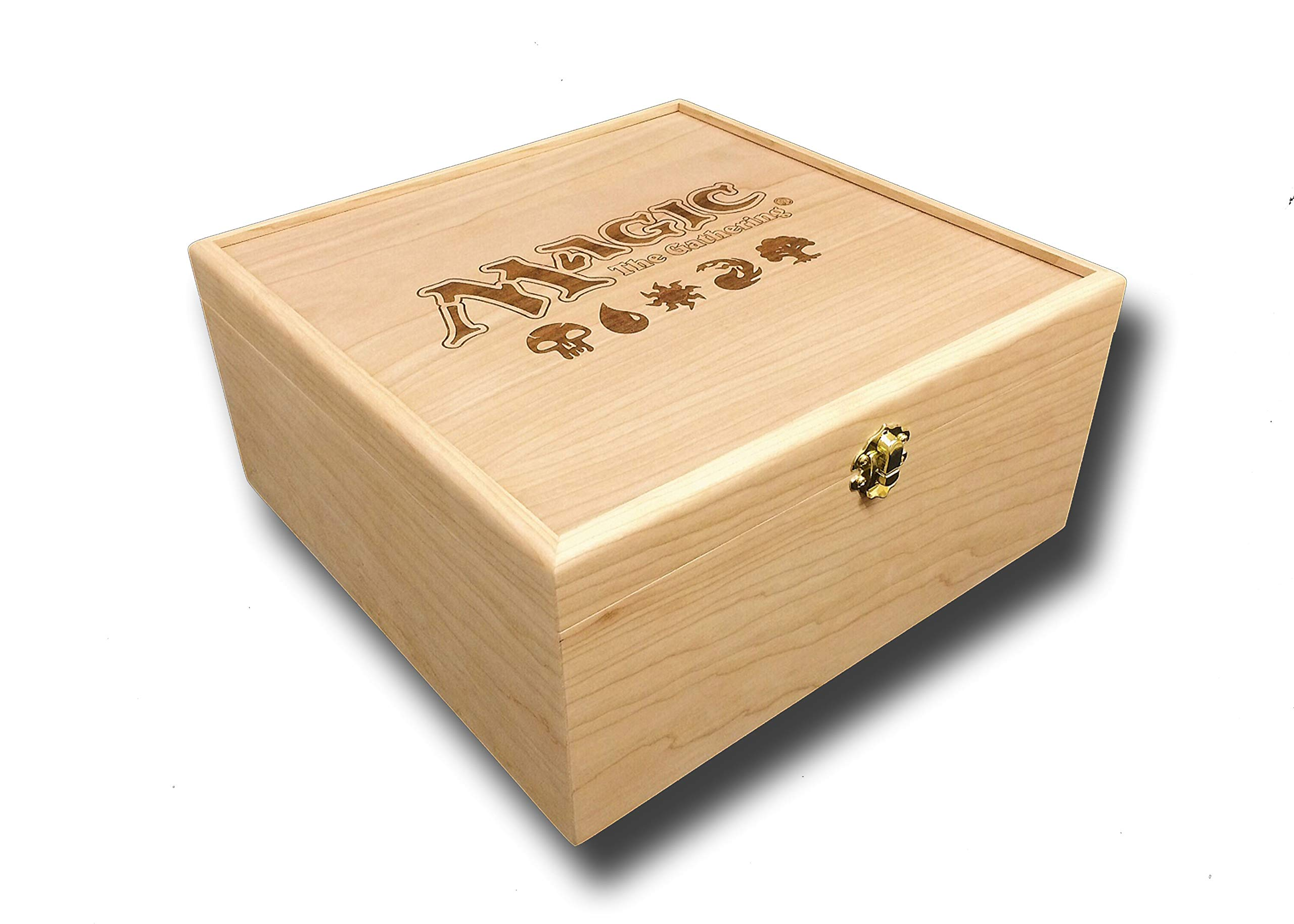 Designcraft Industries Magic The Gathering Engraved Deck Box with Hinges & Latch-10 1/4 x 10 1/4 x 4 3/4- Cherry Box