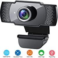 Webcam with Microphone, 1080P HD Streaming USB Computer Webcam [Plug and Play] [30fps] for PC Video Conferencing/Calling/Gaming, Laptop/Desktop Mac, Skype/YouTube/Zoom/Facetime