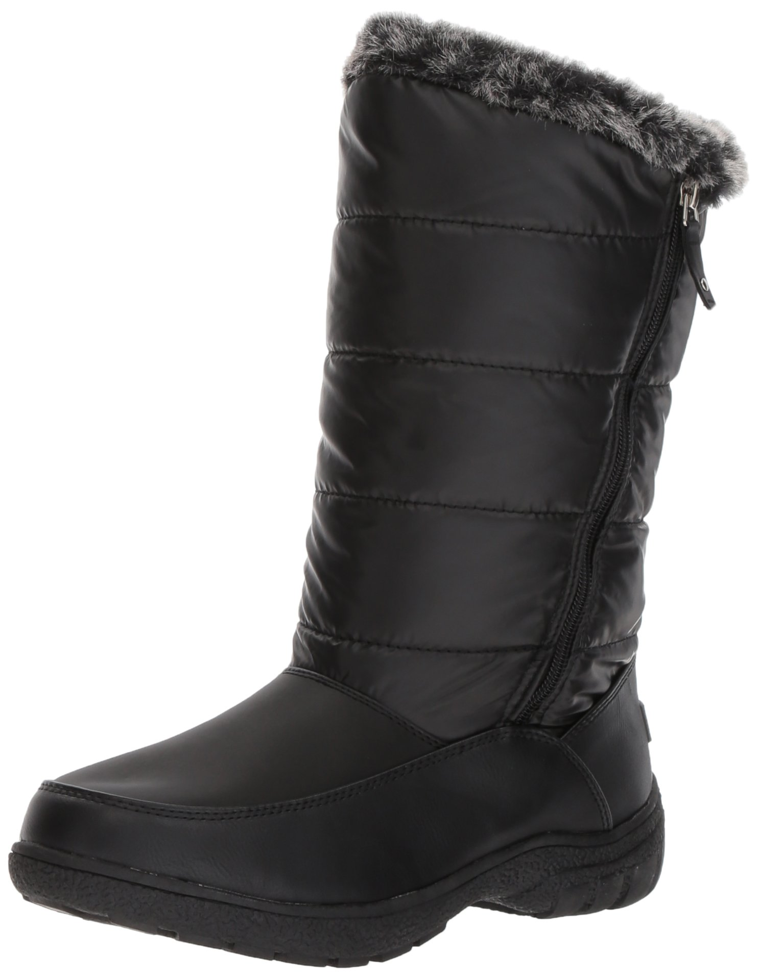 Sugar Women's Lucille Tall Shaft Faux Fur Waterproof Winter Weather Snow Boot, Black, 7 Medium US