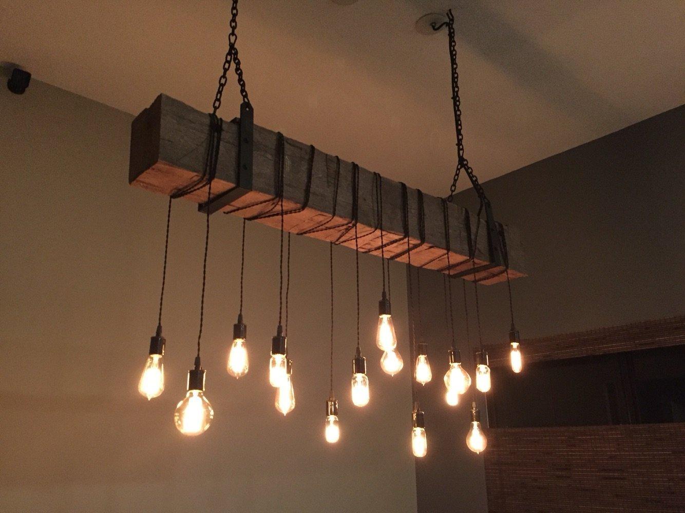 Amazon com reclaimed 60 barn beam light fixture with 12 edison