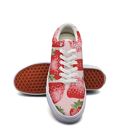 44beef6780 Ouxioaz Womens Action Shoes Watercolor Strawberries Casual Canvas Shoes