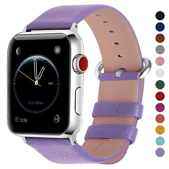 Fullmosa Compatible Smart Watch Band 44mm 42mm 40mm 38mm Calf Leather Band Compatible Watch Band Replacement Strap Compatible Watch Series 4 Series 3 ...