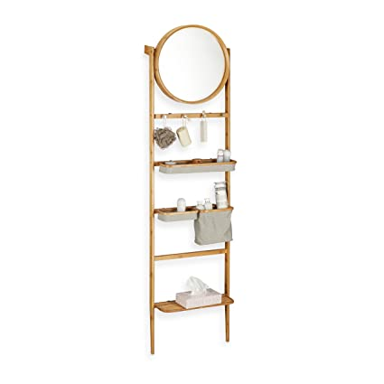 Surprising Relaxdays Bathroom Valet Leaning Ladder Shelf Towel Rack Interior Design Ideas Clesiryabchikinfo