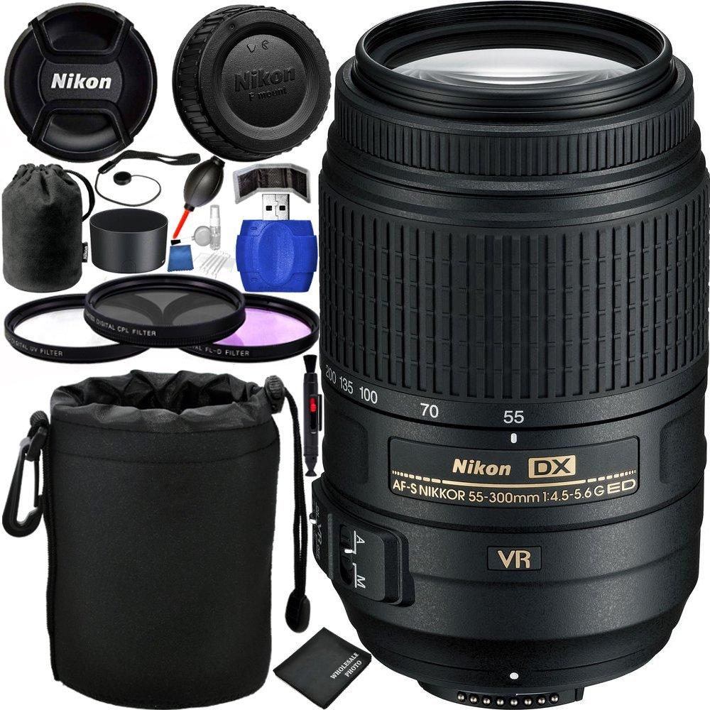 Nikon AF-S DX NIKKOR 55-300mm f/4.5-5.6G ED VR Lens Bundle with Manufacturer Accessories & Accessory Kit (19 Items)