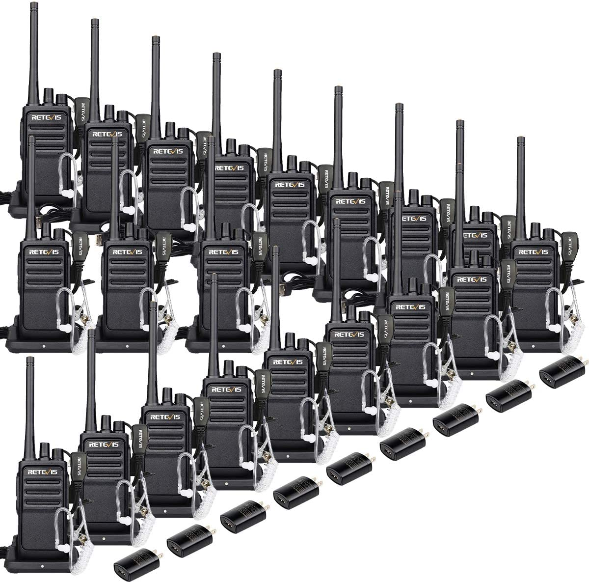 Retevis RT17 20 Pack Wakie Talkies with Earpiece 2 Pin FRS 16 Ch Monitor 2 Way Radios Rechargeable Long Range Two Way Radios