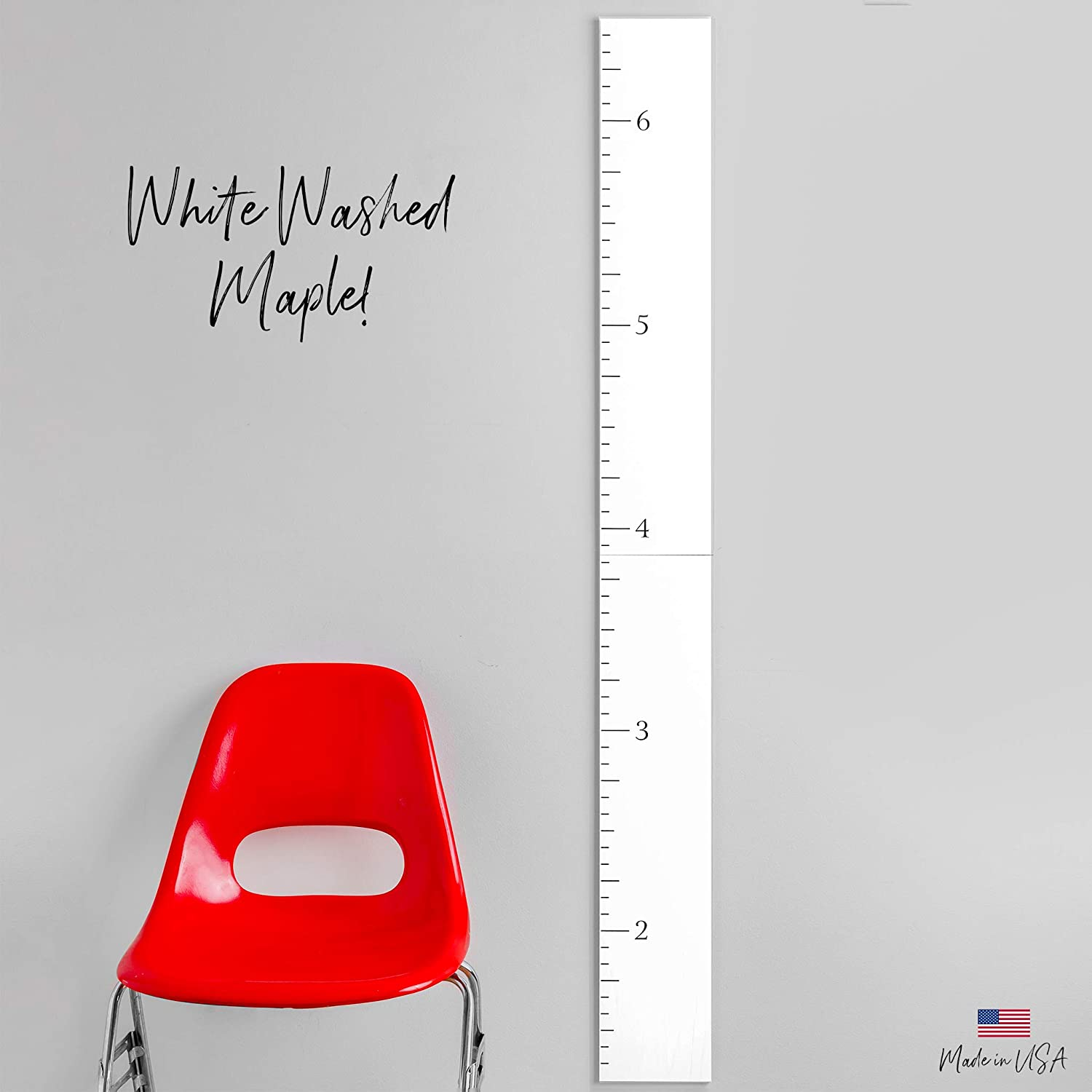 Headwaters Studio Modern Wooden Ruler Growth Chart (White Washed)