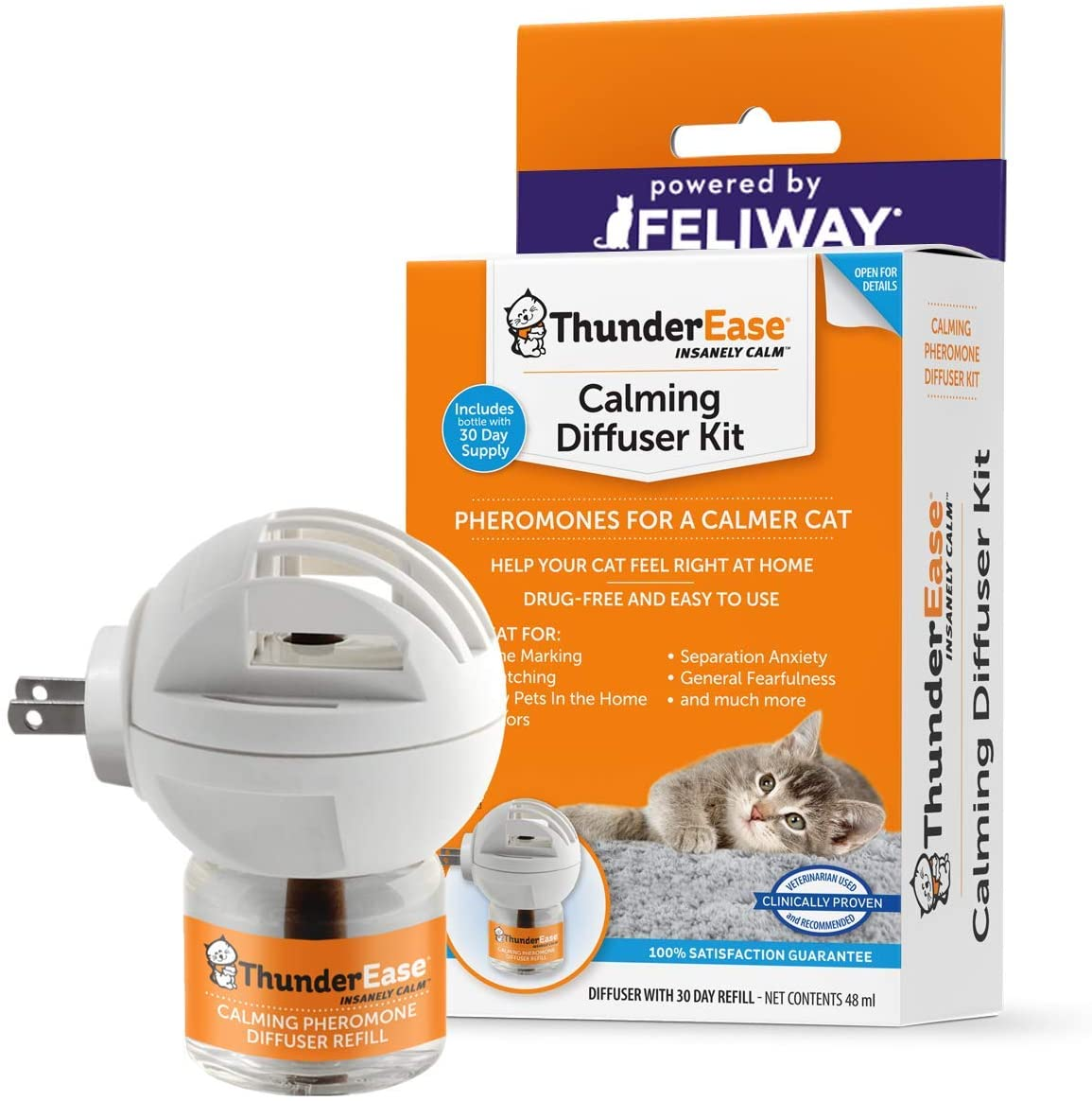 ThunderEase Cat Calming Pheromone Diffuser Kit | Powered by FELIWAY | Reduce Scratching, Urine Spraying, Marking and Anxiety