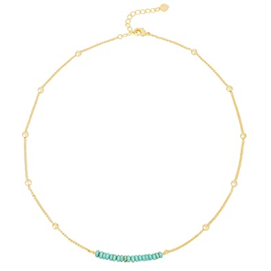 3b8228276e20d PearlyPearls 18k Gold Chain Choker Dainty Turquoise Beads Bar Necklace for  Women Handmade Genstone Jewelry for Mother's Day