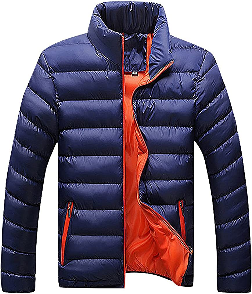 Mancave Men Quilted Printed Inside Stand Collar Zip Up Cotton Padded Jacket
