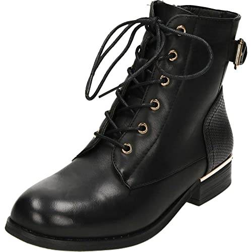 bb39a541513ba Krush Lace up Black Flat Military Ankle Boots: Amazon.co.uk: Shoes ...