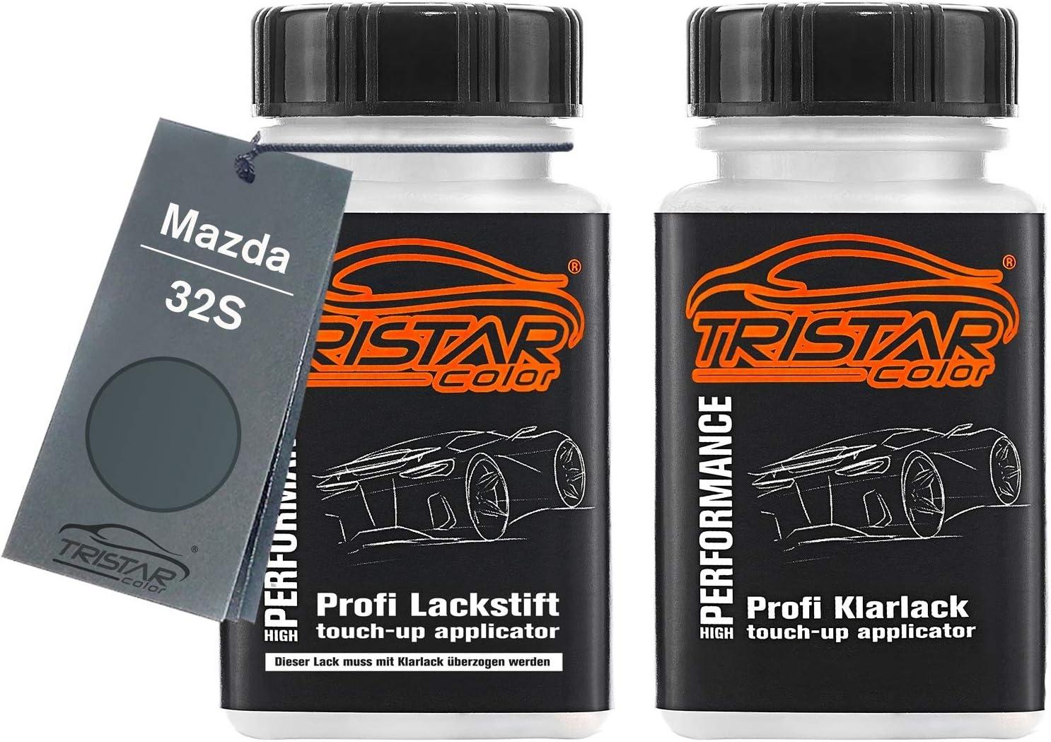 Tristarcolor Autolack Lackstift Set Für Mazda 32s Galaxy Grey Perl Mephistograu Metallic Basislack Klarlack Je 50ml Auto