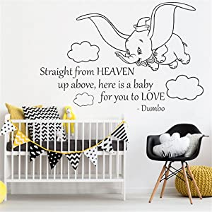 YttBuy Dumbo Wall Decals Stickers Straight from Heaven Up Above Art Sign Quote Removable Vinyl Sticker Mural Gift Baby Room Decor Playroom Wall Art Decor for Nursery Room (23 x 35 inch) (Dumbo Decal)