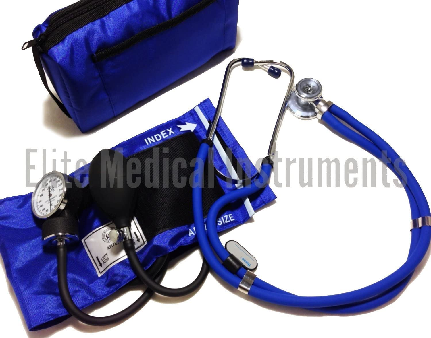 EMI Royal Blue Sprague Rappaport Stethoscope and Aneroid Sphygmomanometer Manual Blood Pressure Set Kit – 330