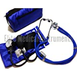 EMI ROYAL BLUE Sprague Rappaport Stethoscope and Aneroid Sphygmomanometer Blood Pressure Set Kit - #330