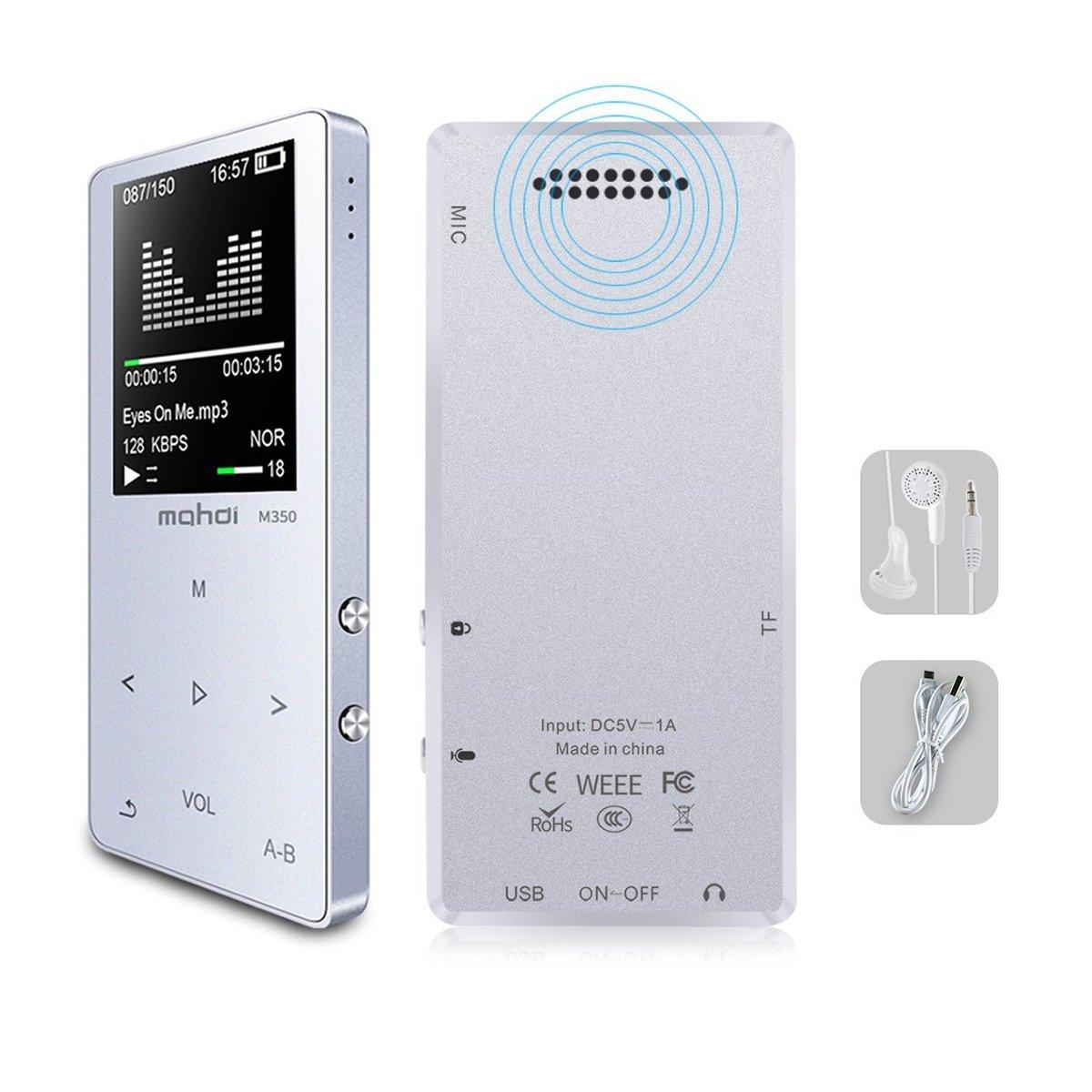 TOOGOO Reproductor de musica MP3/MP4, reproductor de audio portatil de 8GB con visor de fotos, altavoz integrado con auriculares (ampliable hasta 128GB) (Plata)